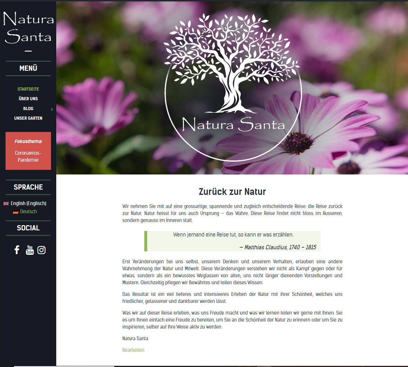 Natura Santa - Zurück zur Natur